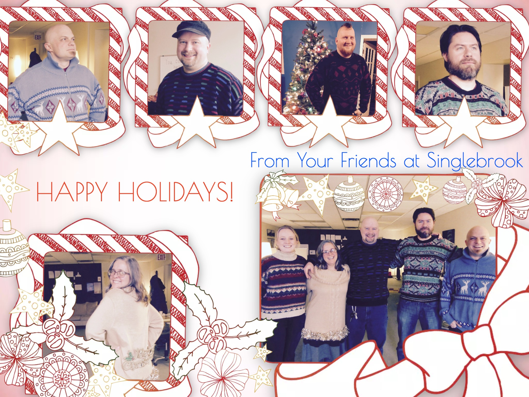 Holiday collage featuring our staff in awesome sweaters